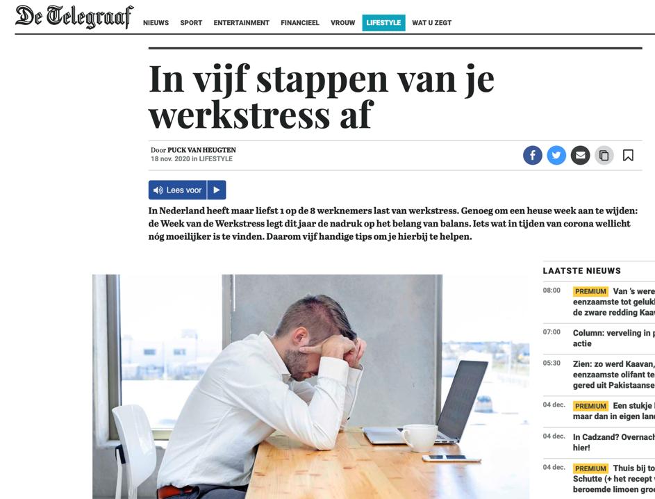 StressCentrum in De Telegraaf 18 november 2020